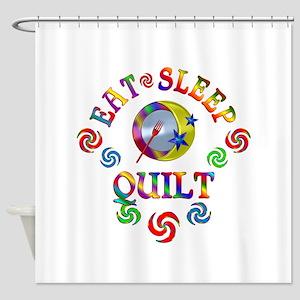 Eat Sleep Quilt Shower Curtain