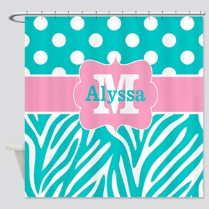 Pink Teal Dots Zebra Personalized Shower Curtain