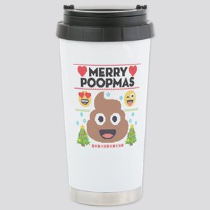 Emoji Merry Poopm 16 oz Stainless Steel Travel Mug