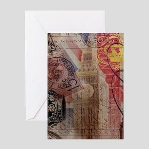 UK flag jubilee vintage decor Greeting Cards