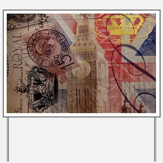UK flag jubilee vintage decor Yard Sign