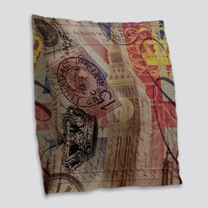 UK flag jubilee vintage decor Burlap Throw Pillow