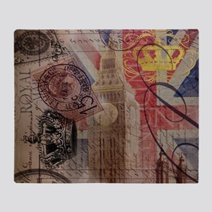 UK flag jubilee vintage decor Throw Blanket