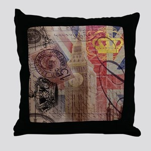 UK flag jubilee vintage decor Throw Pillow