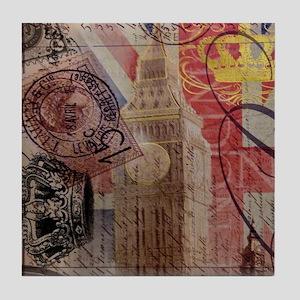 UK flag jubilee vintage decor Tile Coaster