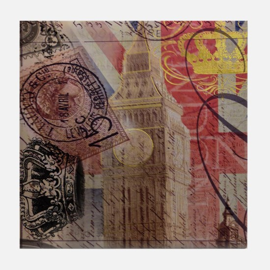 UK flag jubilee vintage decor Tile Coaster