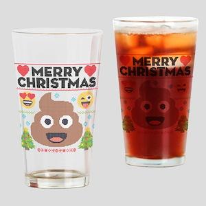 Emoji Merry Christmas Drinking Glass