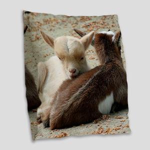 Goat 001 Burlap Throw Pillow