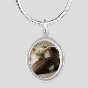 Goat 001 Silver Oval Necklace