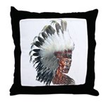 Native American Indian in headdress Throw Pillow