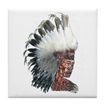 Native American Indian In Headdress Tile Coaster