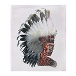 Native American Indian In Headdress Throw Blanket
