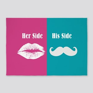 Lips Mustache Her / His Side 5'x7'Area Rug