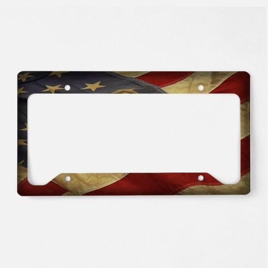 Distressed Vintage American Flag License Plate Hol