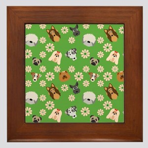 Dogs and Flowers on Green Background Framed Tile