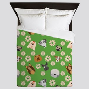 Dogs and Flowers on Green Background Queen Duvet