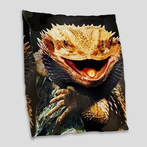 Grotesque Bearded Dragon Lizard Burlap Throw Pillo