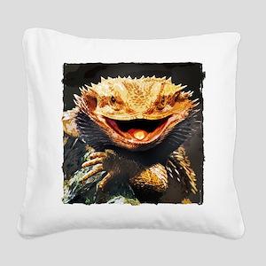 Grotesque Bearded Dragon Lizard Square Canvas Pill