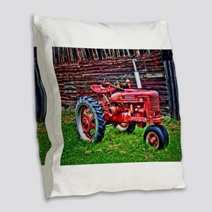 Red Tractor HDR Style Burlap Throw Pillow