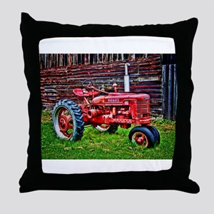 Red Tractor HDR Style Throw Pillow