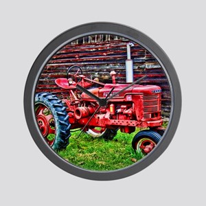 Red Tractor HDR Style Wall Clock