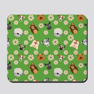 Dogs and Flowers on Green Background Mousepad