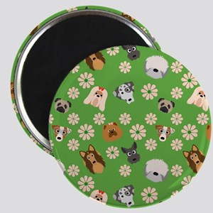 Dogs and Flowers on Green Background Magnet