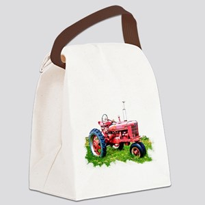 Red Tractor in the Grass Canvas Lunch Bag
