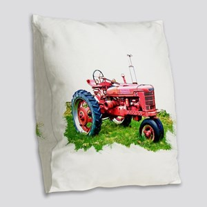 Red Tractor in the Grass Burlap Throw Pillow