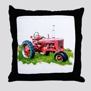 Red Tractor in the Grass Throw Pillow