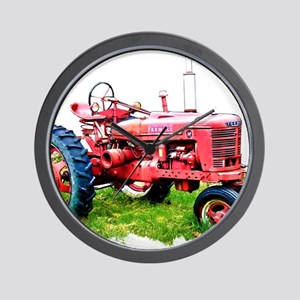 Red Tractor in the Grass Wall Clock