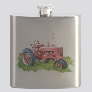Red Tractor in the Grass Flask