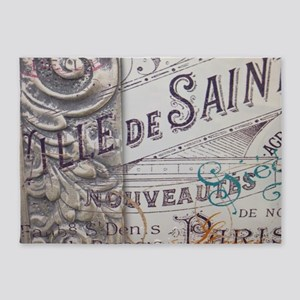 paris vinage scripts floral 5'x7'Area Rug