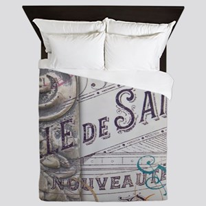 paris vinage scripts floral Queen Duvet