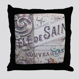 paris vinage scripts floral Throw Pillow