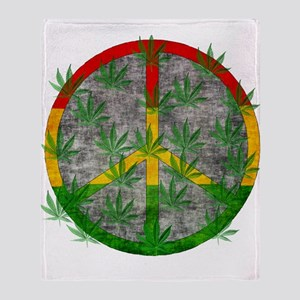 Peaceful Rasta Weed Throw Blanket