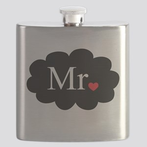 Mr with heart dot on cloud (Mr and Mrs set) Flask