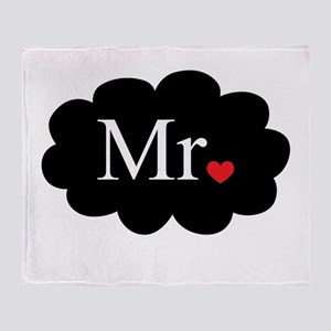 Mr with heart dot on cloud (Mr and Mrs set) Throw