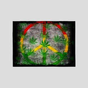 Peaceful Rasta Weed 5'x7'Area Rug