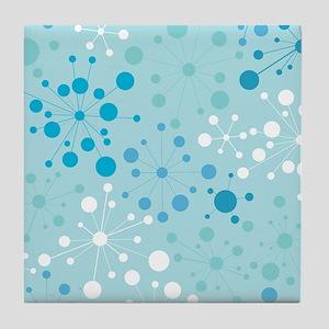 Retro Dots Aqua Tile Coaster