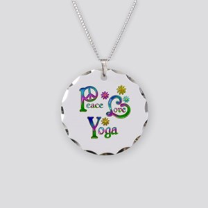 Peace Love Yoga Necklace Circle Charm