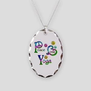 Peace Love Yoga Necklace Oval Charm