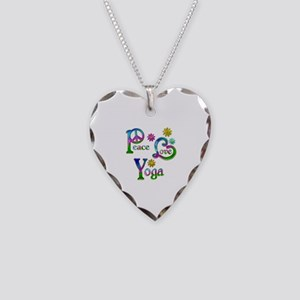 Peace Love Yoga Necklace Heart Charm