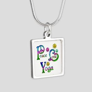 Peace Love Yoga Silver Square Necklace