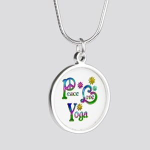 Peace Love Yoga Silver Round Necklace