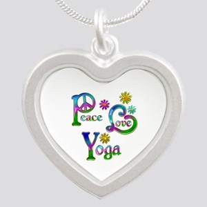 Peace Love Yoga Silver Heart Necklace