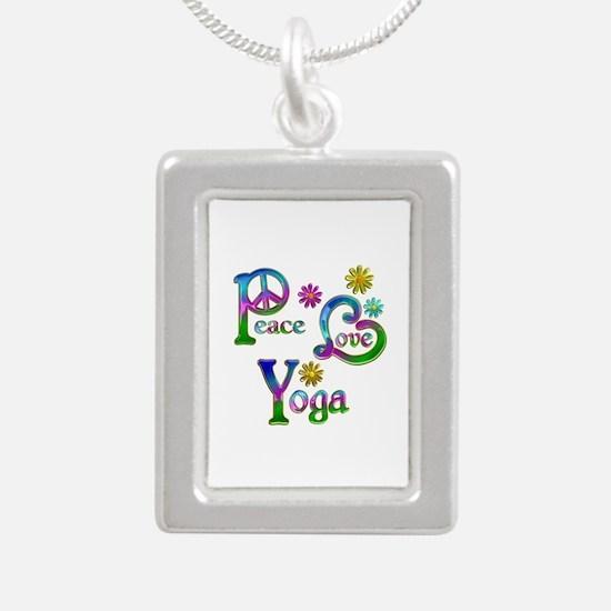 Peace Love Yoga Silver Portrait Necklace