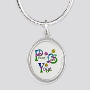 Peace Love Yoga Silver Oval Necklace