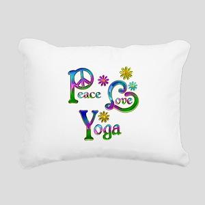 Peace Love Yoga Rectangular Canvas Pillow