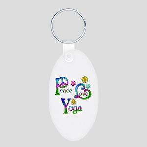 Peace Love Yoga Aluminum Oval Keychain